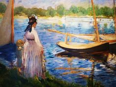 Claude Monet, The Banks of the Seine, Argenteuil, France, 1874 seen at the Courtauld Gallery London England- Photo taken by C Bazinet