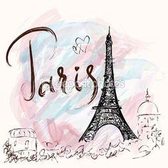 Ilustración con la Torre Eiffel, París — Ilustración de stock #78828656