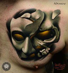 Phantom of The Opera Mask Chest Piece   Best tattoo ideas & designs