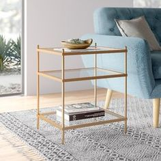 Modern Rustic Interiors Liv End Table Glass Top End Tables, Diy End Tables, End Tables With Storage, Side Tables, Gold End Table, Living Room Furniture, Modern Furniture, Home Furniture, Furniture Ideas