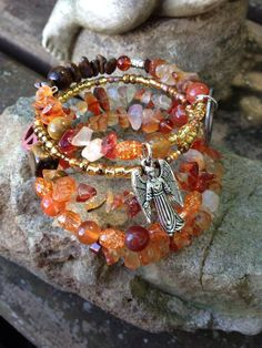 Breathe in Love Breathe Out Peace: Five wrap Memory Wire Beaded Bracelet with Metal Stamped Charm on Etsy, $40.00
