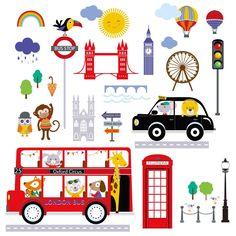 Cherry creek inc Bus to London Peel & Stick Kids Room/Nursery Wall Decal for Boys & Girls
