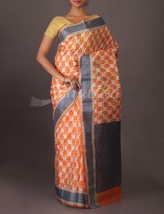 Rajata Trendy Printed Silk Sarees in Orange and White