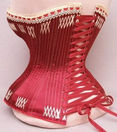 401: Rare 1879 Patent Dated Red Silk Satin Corset : Lot 401