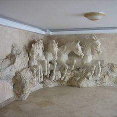 Horses in the wall . 3d Wall Murals, 3d Wall Art, Mural Art, Horse Sculpture, Wall Sculptures, Horse Mural, Room Partition Designs, Wall Art Wallpaper, Plaster Art