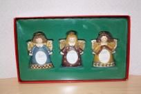 "NIB Angel photo frames/ornaments by Kohl's $10 measures approx: 4"" and holds 1.5"" x 2"" photo."