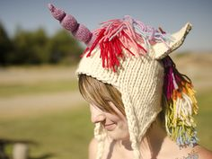 This Unicorn Hat is perfect for children both old and young. Make one for Halloween or other costumed event … or just for fun! If you don't want a unicorn hat (who wouldn't!?!?), you can skip all of the embellishments for a great basic earflap hat that requires just one skein of super soft Malabrigo Rasta.