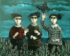 Three Girls with a Butterfly, Yosl Bergner
