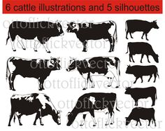 CATTLE SILHOUETTES vector clipart, cows and bulls vector illustrations, eps, ai, cdr, png, jpg files for print, cut, design by ottoflickvector on Etsy