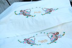 Vintage 1950s Mr and Mrs Pillowcase pair, breast cancer fund