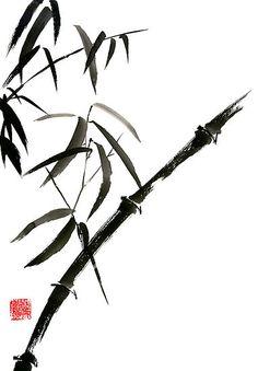 Bamboo japanese chinese sumi-e suibokuga tree watercolor original ink painting