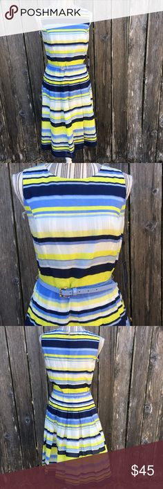 "Tommy Hilfiger Blue Yellow Belted Sleeveless Dress Tommy Hilfiger Blue Yellow Belted Sleeveless Dress Fit and Flare size 6 New with Tags Waist: 30"" Bust: 17.5"" armpit to armpit Length: 40"" Tommy Hilfiger Dresses Midi"