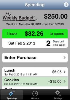 My Weekly Budget® (MyWB) can help you keep more money in your pocket. Save money with this real-time budgeting app! MyWB allows you focus on a budget target for the current week and helps you focus on your day to day spending. Tracking your spending on MyWB and using it daily is all you need to stay within your spending budget, allowing you to save money over time! This app helped many people save money! Developed by @My Weekly Budget #budget #free #iphone #finance http://www.topappstoday.com
