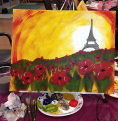 Poppies in Paris. A vino Van Gogh painting.