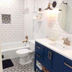 "maydesigns on Instagram: ""Our marketing director Steve, with his wife Courtney, recently renovated the bathroom of their 1965 home, and it left our design team OBSESSING over the encaustic cement tiles they chose for the floor. A few weeks later, the Vintage Tile collection was born. -- Shop the full collection through the link in profile, and read about the full inspiration over on the blog! → maydesignsblog.tumblr.com"""
