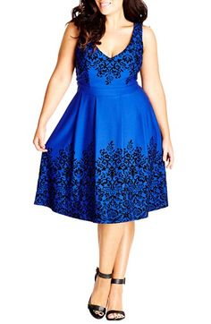 Free shipping and returns on City Chic Border Flocked Fit & Flare Dress (Plus Size) at Nordstrom.com. A flocked-floral print lends an air of vintage romance to a shapely sleeveless dress styled with an alluring décolleté neckline. An inset waist nips in the figure before the pleat-flared skirt drops to a becoming, below-knee finish.