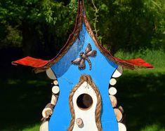bird house, Birdhouse, Whimiscal birdhouse in color options with dragon fly and wire fret work, garden art, in color options Large Bird Houses, Decorative Bird Houses, Galvanized Metal Roof, Fairy Tree Houses, Rain Design, Bird House Feeder, Bird House Kits, Garden Art, Whimsical
