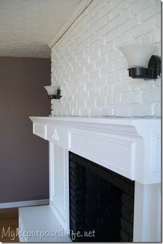 hide an ugly concrete mantel with crown moulding