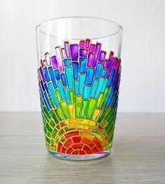 Rainbow mug coffee lover gift colorful painted glass mug   Etsy