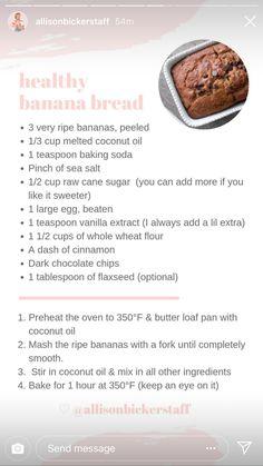 Healthy Banana Bread, Large Egg, Real Food Recipes, Baking Soda, Coconut Oil, Vanilla, Food Porn, Health Fitness