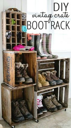 DIY Vintage Crate Boot Rack - Infarrantly Creative - Plan Provision