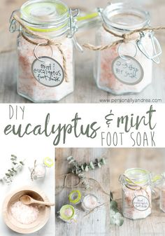 DIY Eucalyptus and Mint Foot Soak a soothing and therapeutic nighttime foot soak with pink Himalayan salts and essential oils Oil Cleansing, Diy Foot Soak, Foot Soaks, Foot Soak Recipe, Diy Beauté, Diy Spa, Diy Crafts, Diy Scrub, Cricut Vinyl