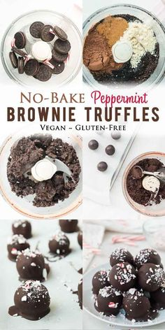 Easy ingredients, no oven necessary, full of chocolate, and a crowd pleaser! These vegan gluten-free brownie truffles take only 15 minutes to make! Recipes no oven Vegan Gluten-Free Peppermint Brownie Truffles Vegan Gluten Free Brownies, Vegan Gluten Free Desserts, Vegan Dessert Recipes, Gluten Free Chocolate, Gluten Free Baking, Chocolate Desserts, Baking Recipes, Vegetarian Desserts, Vegan Baking