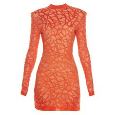 Balmain Coral-effect knit dress featuring polyvore, fashion, clothing, dresses, coral, long sleeve cocktail dresses, balmain dress, coral dress, sexy long sleeve dresses and sexy red dress