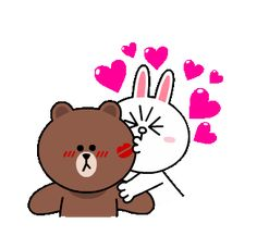 Cute Love Pictures, Cute Cartoon Pictures, Cute Love Cartoons, Cute Love Gif, Bear Gif, Cony Brown, Cute Baby Cats, Bunny And Bear, Cartoon Gifs