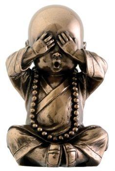 Joyful Monk See No Evil Baby Buddha Figurine Collectible:Amazon:Home  Kitchen