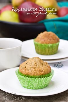 Chunky Pear and Applesauce Muffins | ASpicyPerspective.com #muffins #applesauce #apple #breakfast