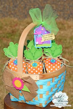 Scrappin with my bug: Jaded Blossom Release Hop ! Easter, carrots. favors, treats, basket, bunny, paper crafts