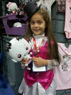 Lily Rose Shadowlyn would like very much to give this young mortal girl a vampyre kiss! Not a deadly one, of course...    San Diego Comic Con    #Vamplets #Plush #ComicCon
