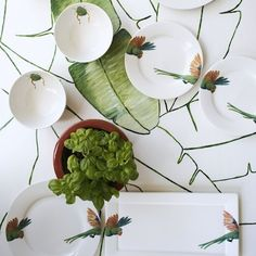 close up lovebird inspiration table styling kitchen dinnerware beetle leaves