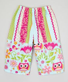 Another great find on #zulily! Blue & Rainbow Owl Capri Pants - Infant, Toddler & Girls #zulilyfinds