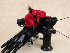 Prom Corsage - corsage - black and red-  bling corsage- black corsage- wrist corsage. wristlet