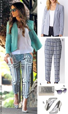 Dress by Number: Kate Beckinsales Teal Blazer and Scarf Print Pants - The Budget Babe