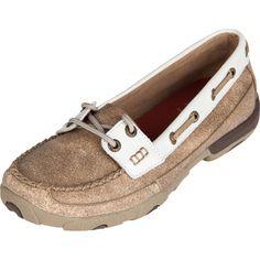 Twisted X Women's Dusty Tan & White Boat Shoe WDM0009