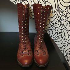 Botas de cuero rojo granate perforada Vintage 5 38