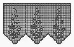 Crochet: Samples crochet curtains with graphics. Crochet Curtain Pattern, Crochet Curtains, Curtain Patterns, Lace Doilies, Crochet Doilies, Crochet Lace, Filet Crochet, Crochet Designs, Embroidery