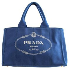 130c6445571a GB1032051 Authentic Prada Canapa Shopping Tote Canvas Color - Blue  Authenticity card inluded Prada Tote Bag. Tradesy