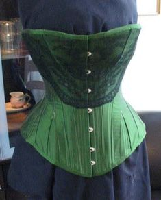 1891 Corset.: corsetmakers Green Corset, Burn Belly Fat, Chantilly Lace, Green Silk, News Design, Really Cool Stuff, Eye Candy, Take That, Corsets