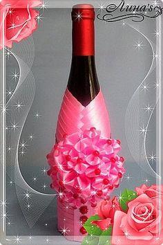 Декор предметов День рождения Цумами Канзаши Декор бутылок НА РОЖДЕНИЕ девочки Бутылки стеклянные Клей Ленты фото 1