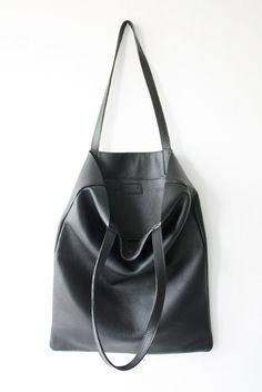 10775dda4bbd9 ANYA Basic Black Leather Tote Bag by MISHKAbags on Etsy Black Leather Tote  Bag