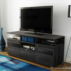 South Shore City Life II Contemporary Style TV Stand in Grey Oak - 4137676
