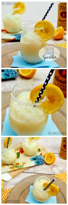 This sounds delicious: Frozen Lemon Sparklers! Adult Lemon and Vanilla slush made with Greek Yogurt! - The Cookie Rookie Refreshing Drinks, Summer Drinks, Fun Drinks, Beverages, Cocktails, Non Alcoholic Drinks, Smoothies, Smoothie Drinks, Milk Shakes