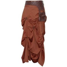 Brown Steampunk Skirt with Pouch ❤ liked on Polyvore featuring skirts, steampunk, embellished skirt, brown skirt, ruched skirt, gathered skirt and brown knee length skirt