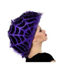 Hair Wig Spider Purple & Black Halloween 2018, Halloween Accessoires, Punk, Purple And Black, Wig Hairstyles, Wigs, Winter Hats, Beanie, Spiders