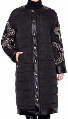 Black Embellished Sleeve Padded Coat