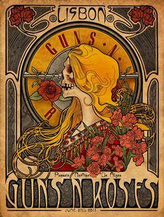 Vintage Music Art - Guns N' Roses - Lisbon 0858 – The Vintage Music Poster Shop Rock Vintage, Retro Vintage, Vintage Horror, Rock Band Posters, Vintage Concert Posters, Kunst Poster, Poster Design, Vintage Design Poster, Graphic Design